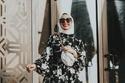 فستان مطبوع من ملابس محجبات للعيد 2021