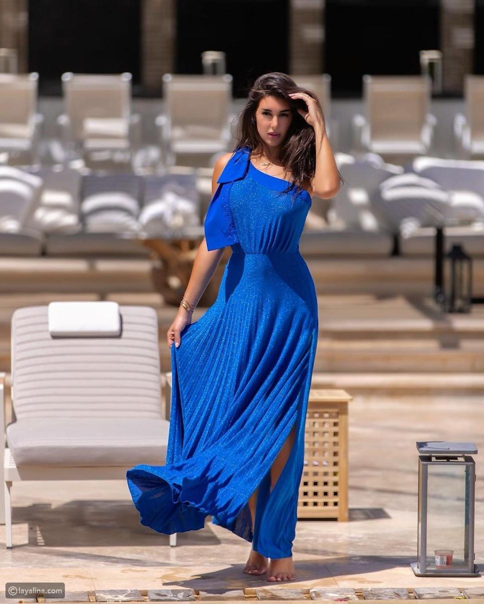 ياسمين صبري بفستان أزرق ملكي