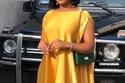 فستان ستان أصفر