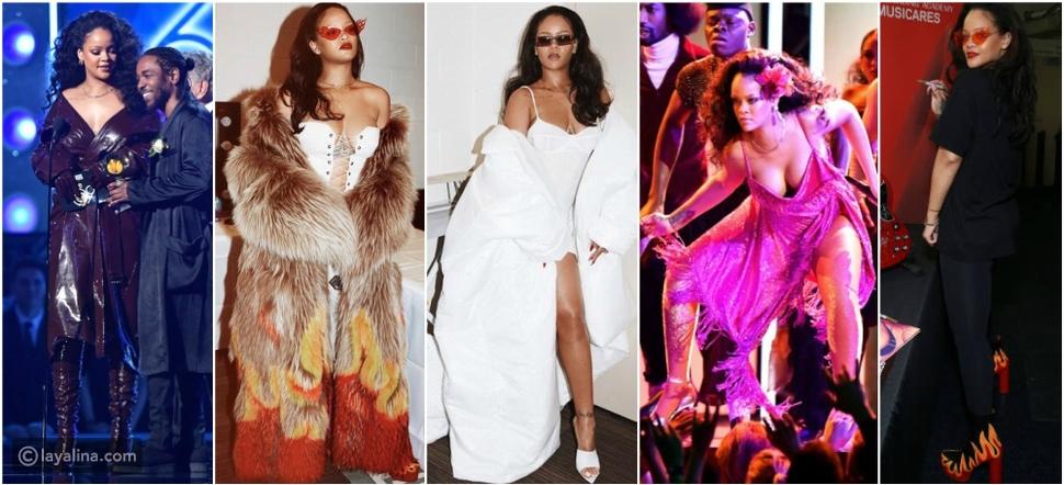 خمس إطلالات ظهرت بهن يهانا Rihanna في حفل جوائز Grammy Awards  2018