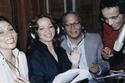 """بليغ حمدي, عبد المنعم مدبولي, شادية وسهير البابلي في بروفات أغاني مسرحية """"ريا وسكينة"""""""