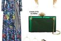 لوك أنثوي ساحر مع فستان ماكسي وصندل باللون الذهبي أما القطعة الأكثر تميزاً فهي حقيبة الكلاتش باللون الأخضر الشفاف