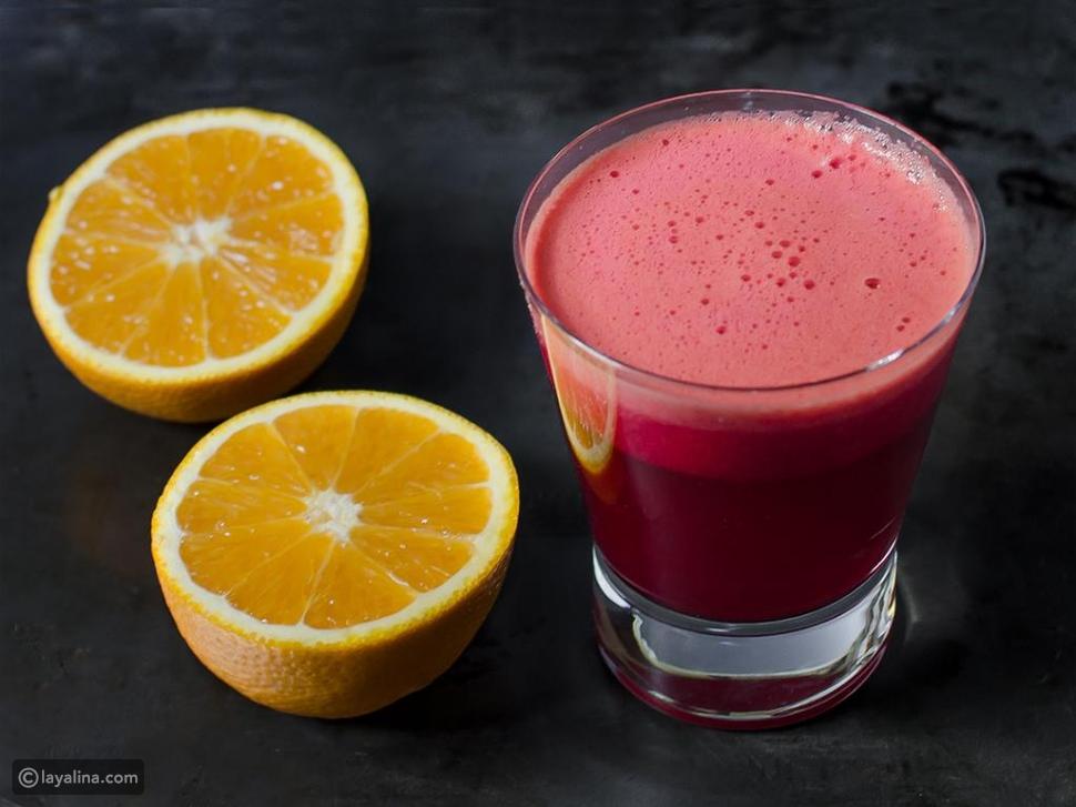 عصير الشمندر والبرتقال