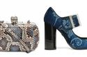 """حقيبة مرقطة بجلد الأفعى من """"Alexander McQueen"""", حذاء جينز كعب عالي من """"Lanvin"""""""