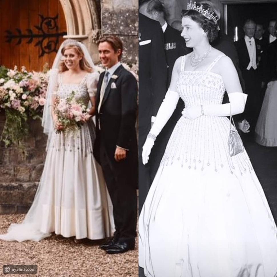 إطلالة زفاف الأميرة بياتريسبنفس فستان الملكة إليزابيث وتاجها الماسي