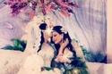 حرصت إلهام الفضالة على إخفاء وجه ابنتها في حفل زفافها