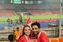 صور مشاهير حرصوا على دعم لاعبي منتخب مصر من مدرجات ستاد القاهرة