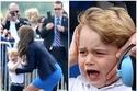 صور الأمير جورج يخرج عن السيطرة في أول رحلة حربية له وهكذا سيطرت كيت ميدلتون على الموقف