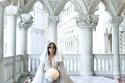جمال تصميم فستان زفاف غنوة زين الدين ملكة جمال العرب في أمريكا 2014
