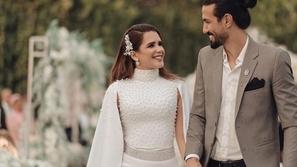 زواج شيماء صابر واللاعب رامي صبري: العروس بفستان محتشم ناعم التفاصيل