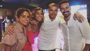 صور دينا الشربيني تفاجئ عمرو دياب في عيد ميلاده.. وفستانها يخطف العيون