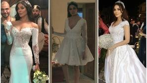مقارنة بين فساتين زفاف نادين نسيب نجيم في مسلسلات رمضان.. أيها أجمل؟