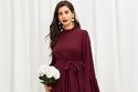 فستان ماكسي بلون مميز برقبة محددة وأكمام واسعة - سعره 92 درهم إماراتي