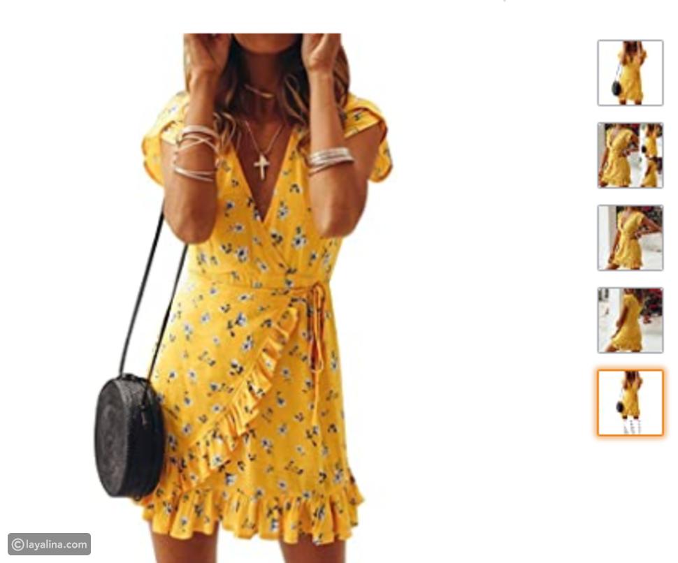 فستان أصفر من أمازون