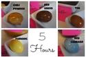 درجة اللون التي يصل إليها البيض بعد تركه في المحلول مدة خمس ساعات