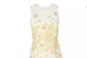 فستان ربيعي ناعم  لون أبيض و مطرز أصفر ماكسي الطول