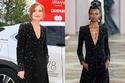 Isabelle Huppert بفستان أسود مطرز مفتوح من Armani Privé