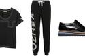 """كنزة سوداء من """"Burberry"""", بنطال رياضة أسود من""""Kenzo"""", حذاء رسمي من""""Vince"""""""