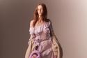 فستان أرجواني شفاف بتصميم كشكشة من Blumarine