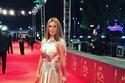فستان نيكول سابا العاجي المعدني في حفل جوائز السينما العربية