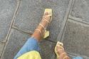 الحذاء ذو المقدمة المربعة والأربطة على الكاحل مع آية فيصل
