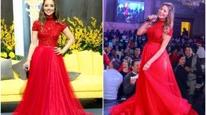 بلقيس فتحي تتألق بنفس فستان جنات الأحمر وتسحر العيون بجمال الموديل