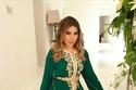 قفطان أخضر أنيق مزين ترتديها الفنانة يارا