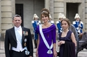 الملك عبد الله الثاني والملكة رانيا وابنتهما الأمير إيمان أثناء حضورهم حفل زواج الأميرة فيكتوريا ولية عهد السويد وعريسها دانيال ويستلينغ عام 2013