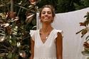 فستان أبيض قصير قطني