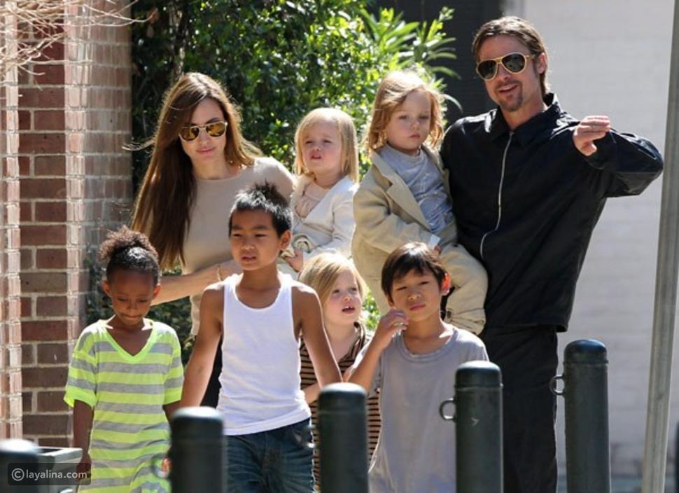 أنجلينا جولي وبراد بيت وأولادهم