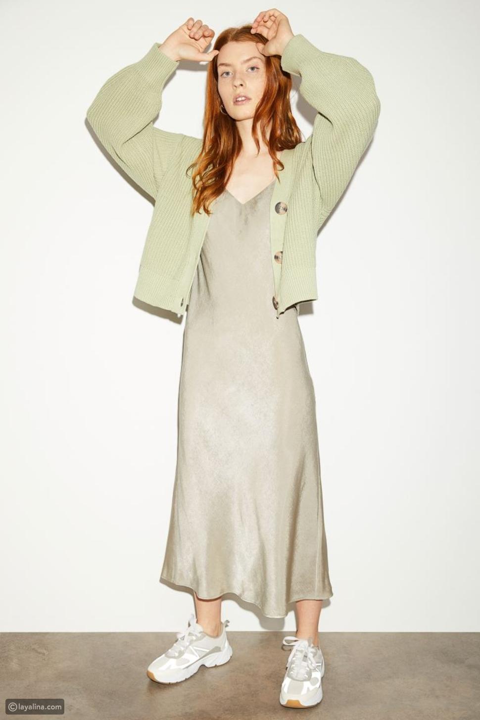 فستان ساتان H&M بياقة V