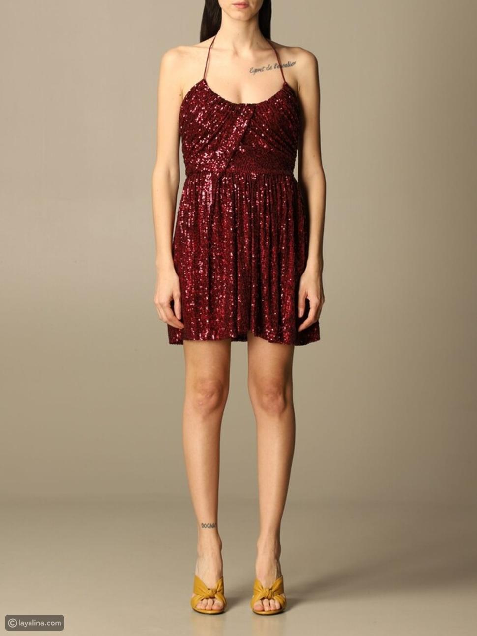 """الفستان القصير مع الترتر العنابي من سان لوران """"Saint Laurent"""""""