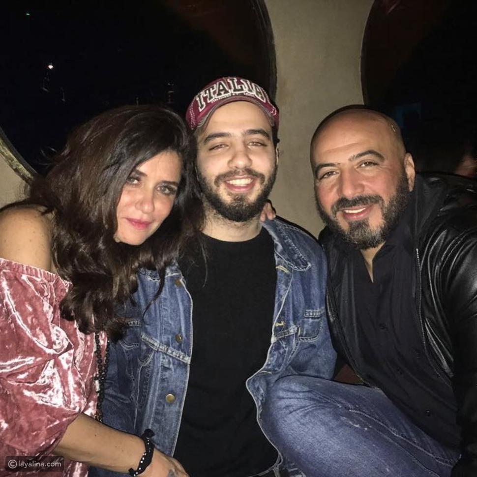 غادة عادل وزوجها مجدي الهواري مع ابنهما الأكبر