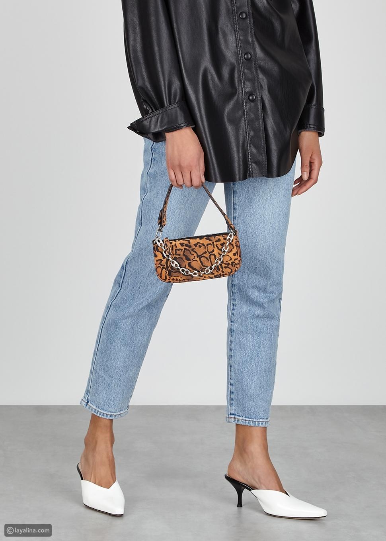حقيبة كتف مزينة بطبعات جلد الفهد