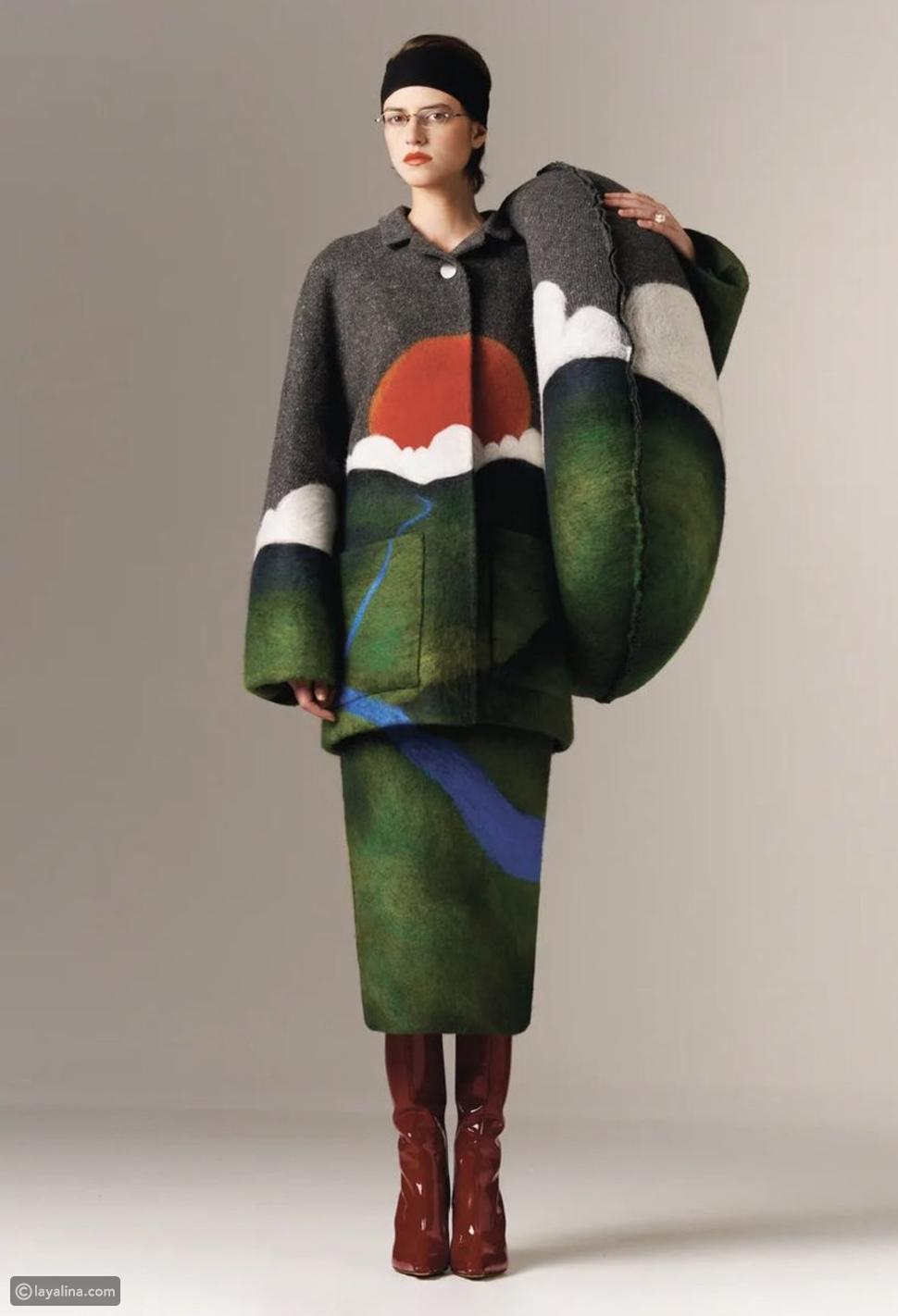 ملابس مزينة بالطبيعةفي مجموعات عروضالأزياء