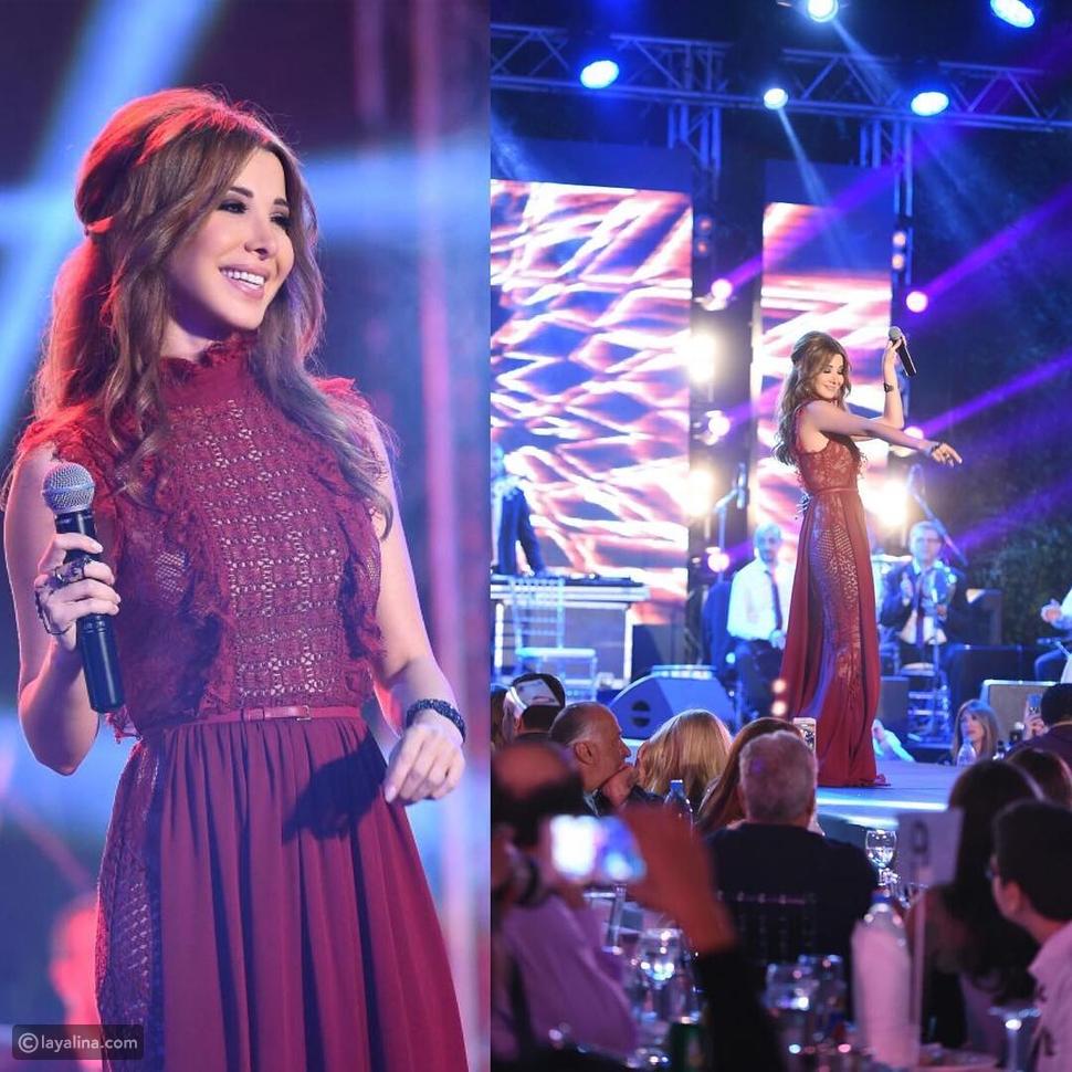 نانسي عجرم تؤكد أن اللون الأحمر النبيذي هو الأكثر سحراً في هذا الفستان