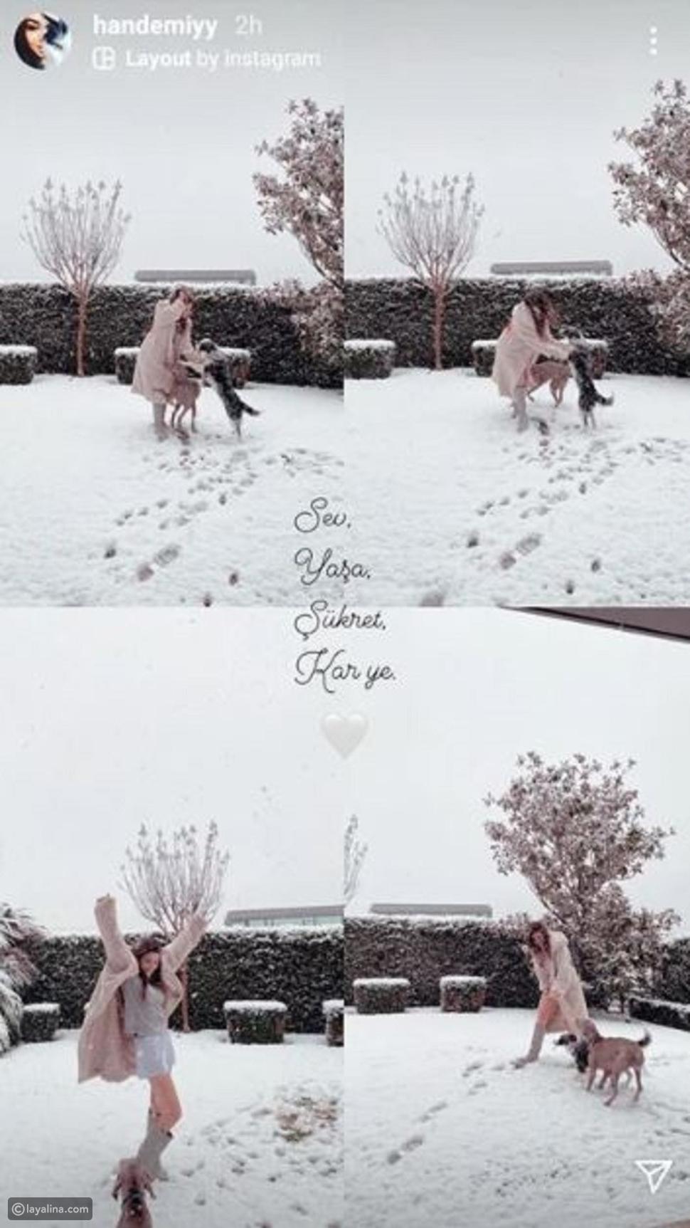 هاندا أرتشيل ترقص على الثلج مع كلابها