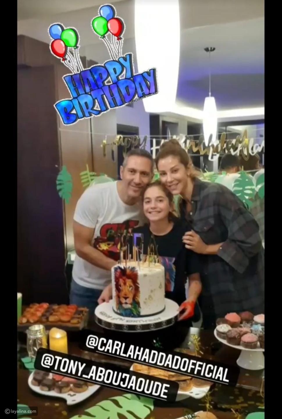 كارلا حداد تحتفل مع طليقها بعيد ميلاد ابنتها