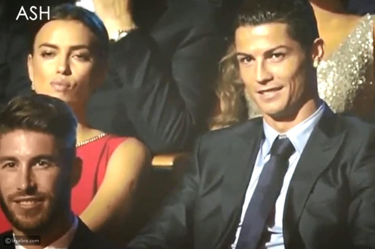 فيديو رد فعل إيرينا شايك على مزاح مقدمة حفل مع كريستيانو رونالدو - ليالينا