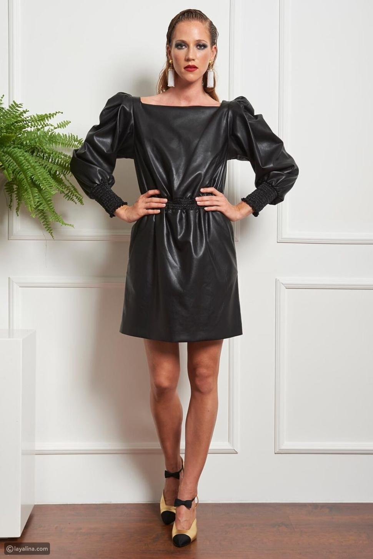 فستان قصير من الجلد الصناعي