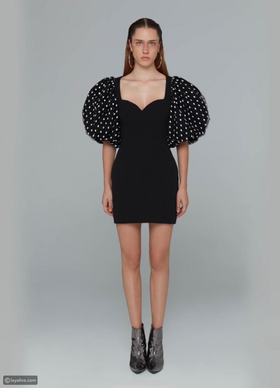 فستان Vatanika Polka Dot شبكي من كريب مطاطي بأكمام منفوخة