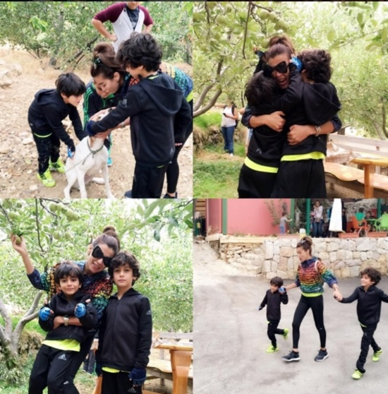 فيديو وصورة: نادين الراسي في أسعد لحظاتها مع ولديها تمارس أخطر الرياضات..