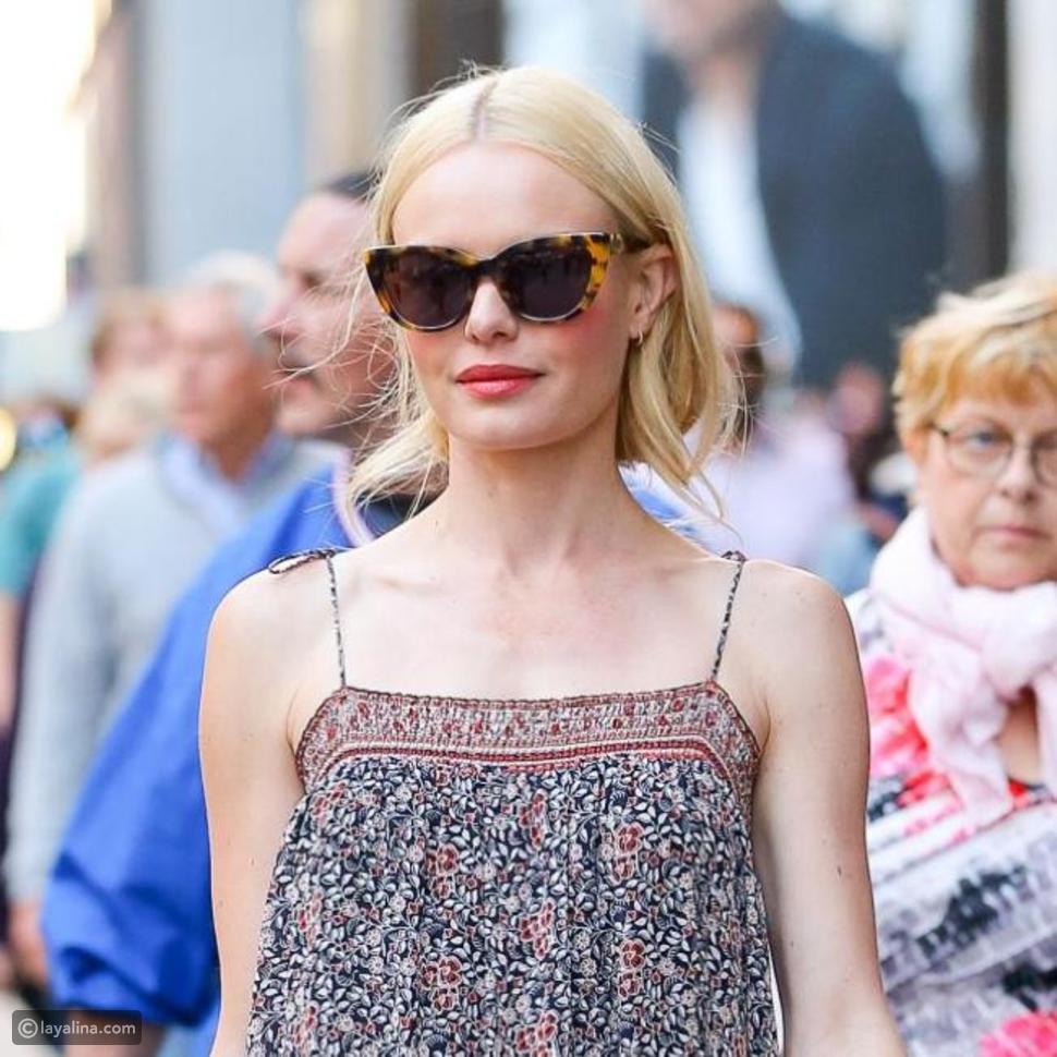 كايت بوسورث ترتدي نظارة شمسية من مجموعتها الجديدة