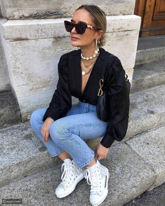 جينز عالي الخصر وبساق مستقيمة
