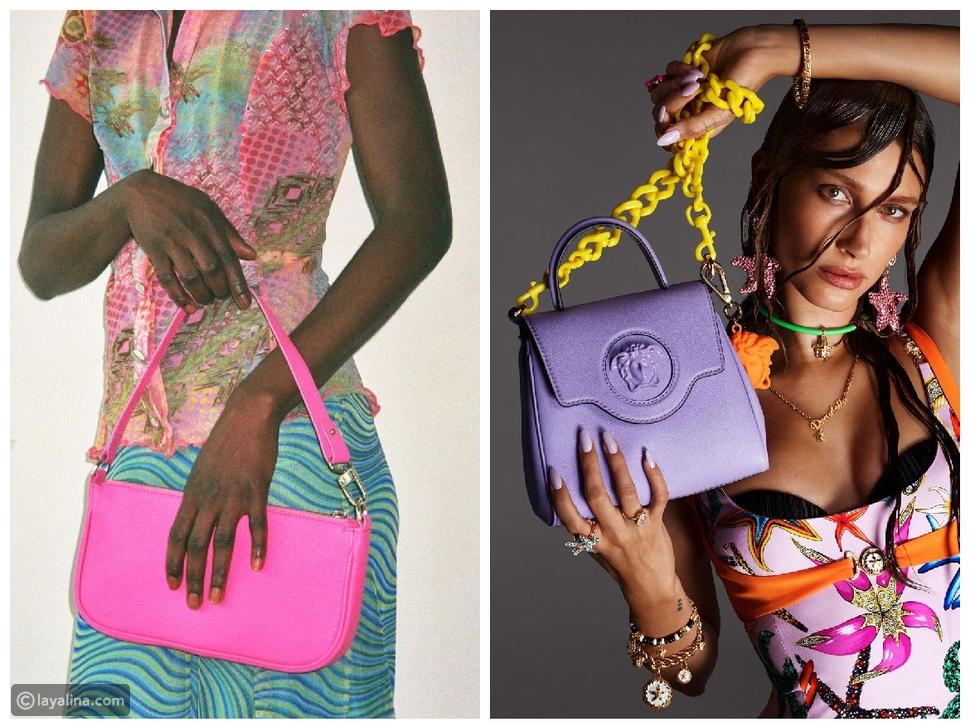 حقائب ذات ألوان براقة