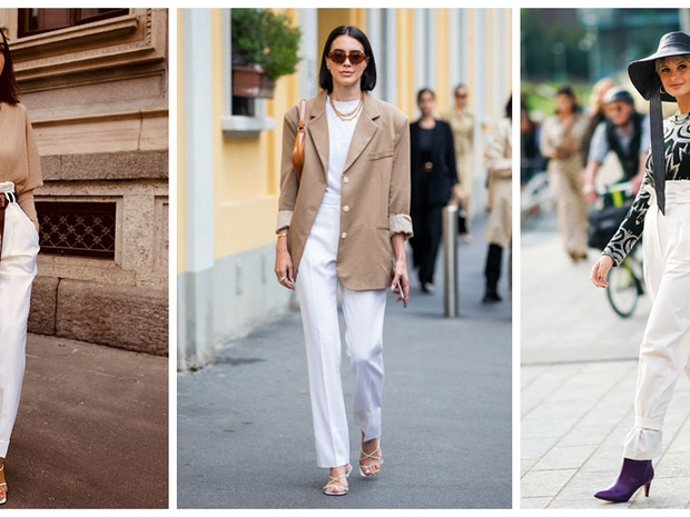 ارتدي البنطال الأبيض في الشتاء على طريقة نجمات Street Style