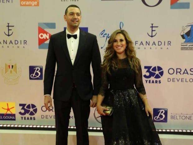 شيري عادل ومعز مسعود على السجادة الحمراء من مهرجان الجونة