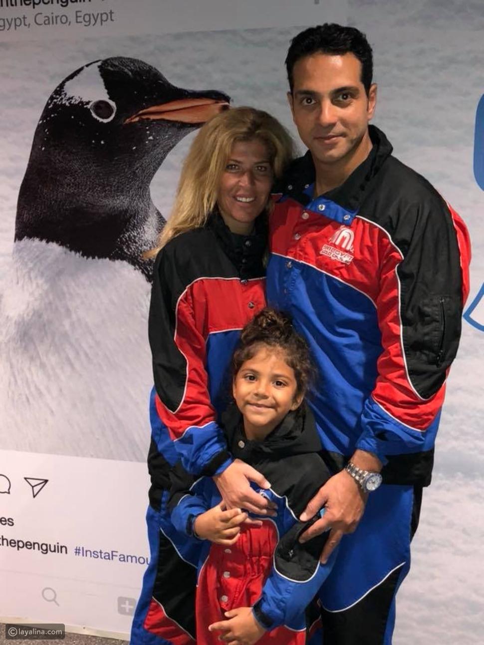 ابنة نيللي كريم مع والدها وخطيبته