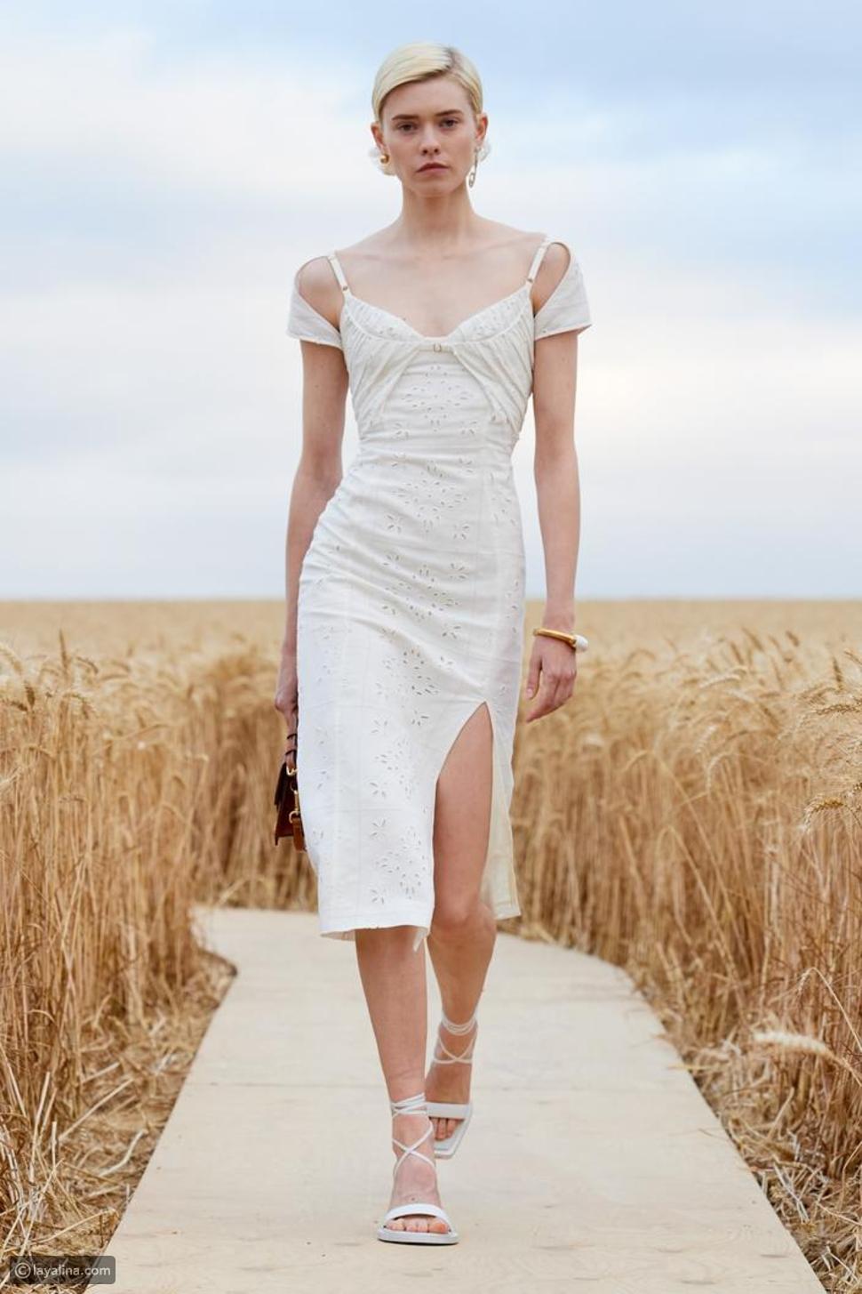 فستان كوكتيل صيفي الأبيض