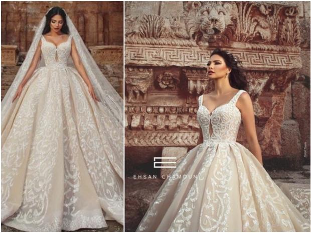 فستان زفاف مطرز بقصيدة كاملة لنزار قباني للمصمم إحسان شمعون